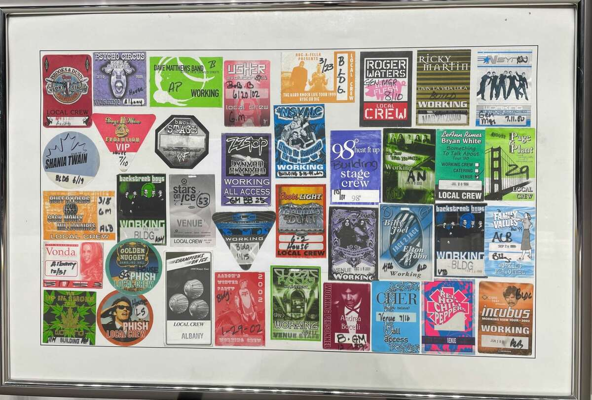 One of seven large frames totaling 350 backstage concert passes collected over 27 years by Times Union General Manager Bob Belber. The collection is being auctioned in part to benefit arena employees who have been furloughed for nearly eight months and counting by the coronavirus-related shutdown of arts venues. (Provided photo.)