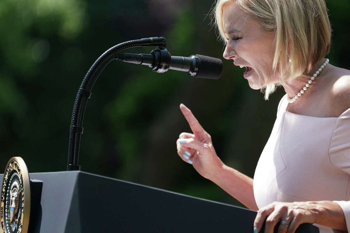 Evangelist Paula White, chair of the White House evangelical advisory board, says a prayer for U.S. President Donald Trump during a National Day of Prayer service in the Rose Garden at the White House May 2, 2019 in Washington, D.C. (Chip Somodevilla/Getty Images/TNS)