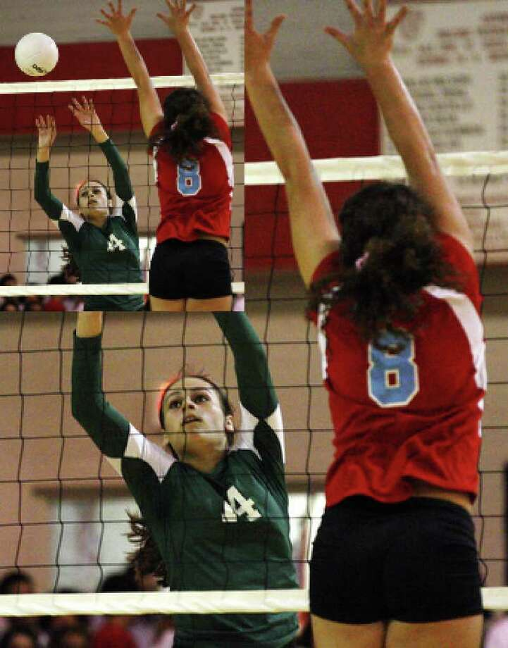 IWHS Krystal Puente, (14), left, tries to sneak the ball pass Antonian's Sophia Qui�ones.