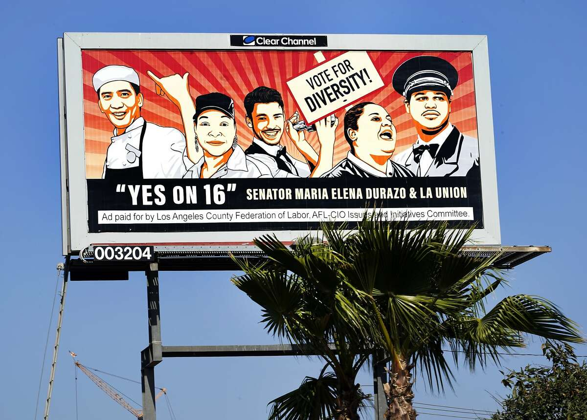 This Friday, Oct. 30, 2020, photo shows a billboard ad for the 2020 California Proposition 16 - End Diversity Ban, in Inglewood, Calif.