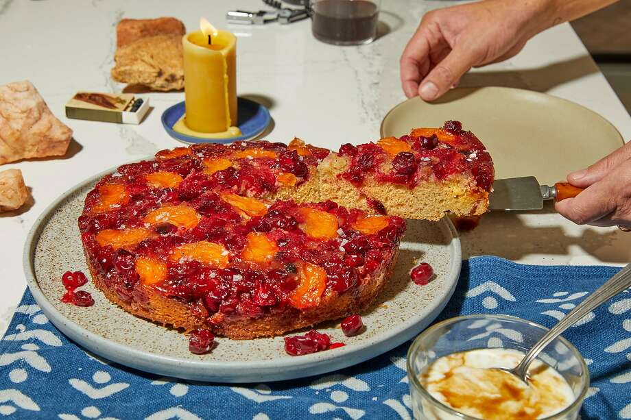 Cranberry-Mandarin Upside Down Cake with Brown Sugar Yogurt. Photo: Andrea D'Agosto / Special To The Chronicle; Photo Styling By Christian Reynoso