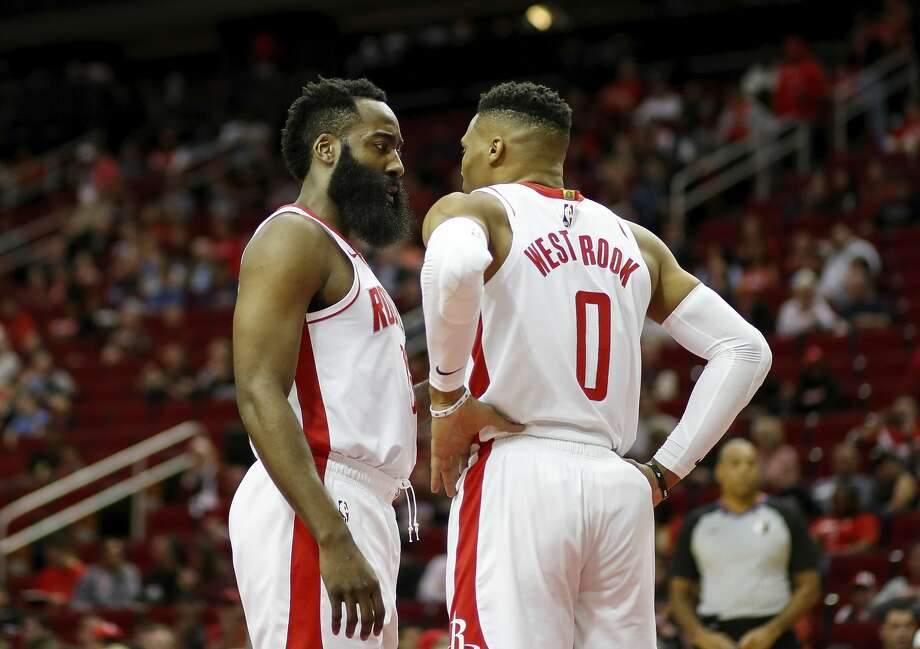 James Harden of the Houston Rockets talks with Russell Westbrookin the first half against the Orlando Magic at Toyota Center on March 08, 2020 in Houston, Texas. Photo: Tim Warner/Getty Images / 2020 Tim Warner