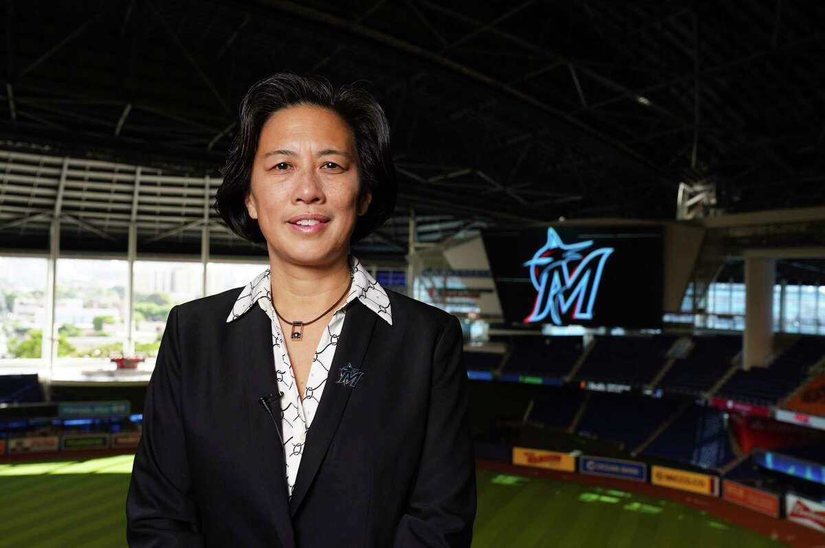Kim Ng was introduced Monday as the Marlins' general manager, making her the first female GM in the four major North American professional sports leagues.