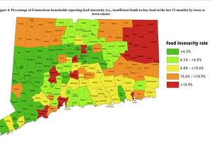 "Percentage of Connecticut households reporting food insecurity (i.e., insufficient funds to buy food in the last 12 months) by town or town-cluster. From the ""Food Insecurity and Obesity Incidence Across Connecticut Zwick Center for Food and Resource Policy Outreach Report No. 54"" by Rebecca Boehm, Jiff Martin, Jaime Foster, and Rigoberto A. Lopez. Department of Agricultural and Resource Economics Zwick Center for Food and Resource Policy Rudd Center for Food Policy and Obesity Department of Extension University of Connecticut Storrs, Connecticut"