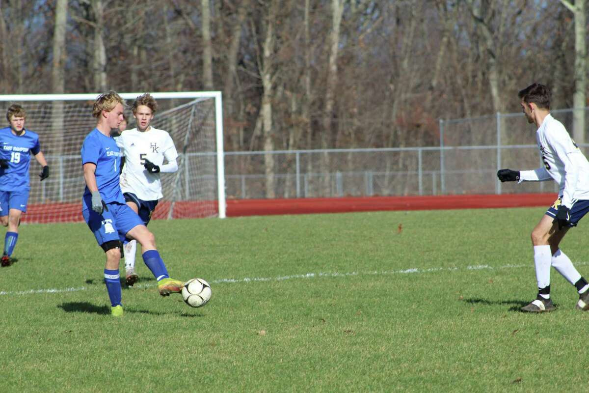 Action from the Shoreline Conference boys soccer championship game on Monday between Haddam-Killingworth and East Hampton. H-K won 1-0.