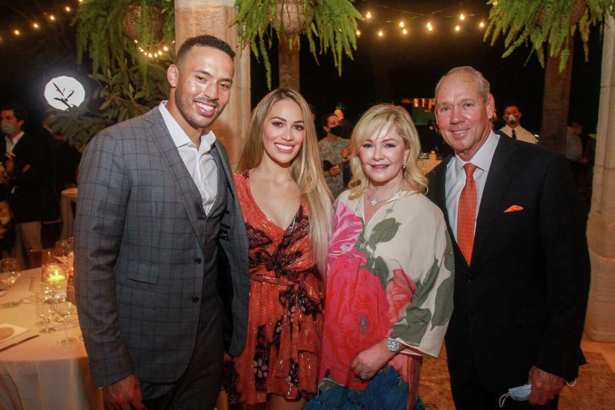 Carlos and Daniella Correa, from left, with Whitney and Jim Crane at the Fabergé and Correa Family Foundation Golden Garden Soiree