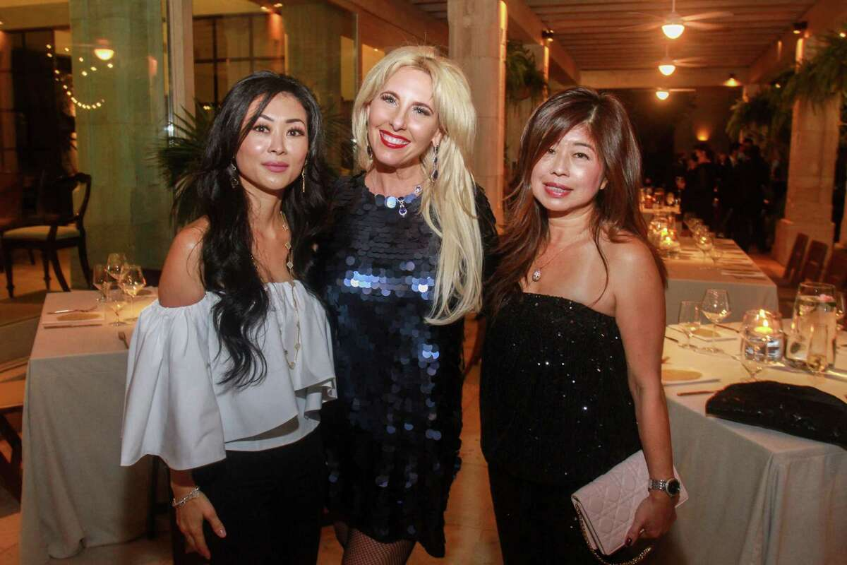 Linda Lee O'Connor, from left, Tracy Faulkner and Rose Chen at the Fabergé and Correa Family Foundation Golden Garden Soiree