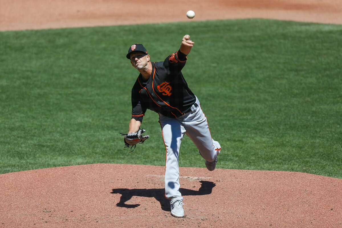 San Francisco Giants Drew Smyly pitches during Spring Training at Oracle Park on Sunday, July 12, 2020 in San Francisco, California.