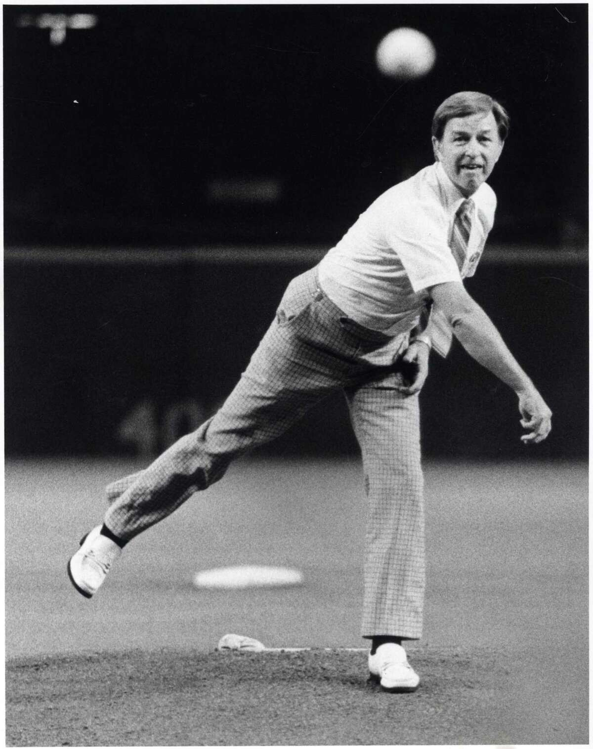 Pearland Mayor Tom Reid is shown throwing out the first pitch at the Houston Astrodome in 1980.