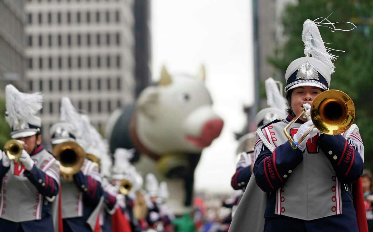 Members of the Westbury High School marching band perform during the 70th Annual H-E-B Thanksgiving Day Parade downtown Thursday, Nov. 28, 2019, in Houston.