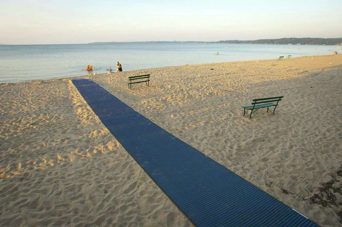 An accessible walkway helps visitors get right down to the water at Traverse City State Park in Grand Traverse County. (Courtesy photo/Michigan Department of Natural Resources)