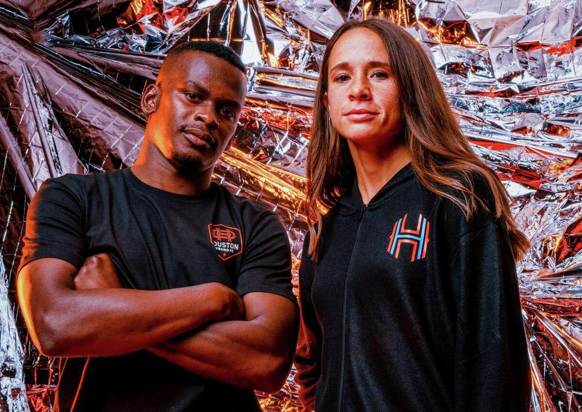 Houston Dynamo FC forward Darwin Quintero & Houston Dash midfielder Shea Groom in the teams' new colors and branding.