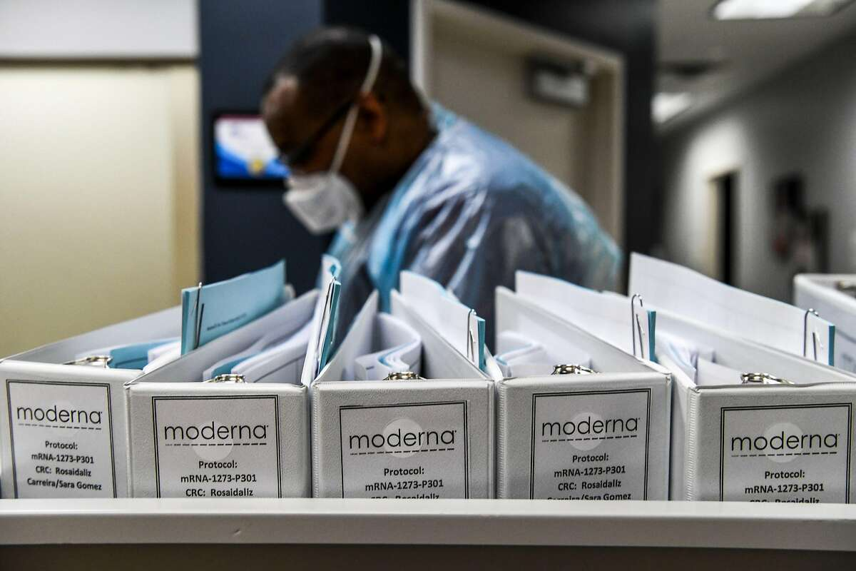 Biotechnology company Moderna protocol files for COVID-19 vaccinations are kept at the Research Centers of America in Hollywood, Florida, on August 13, 2020. (Chandan Khanna/AFP via Getty Images)