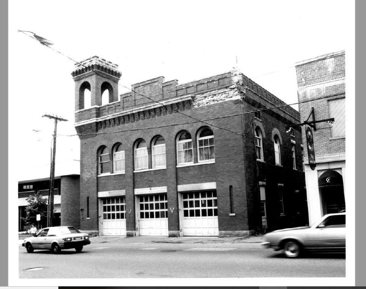 The crumbling facade on the right corner of the old firehouse was repaired by J.R. Laliberte when he bought the building in 1998.