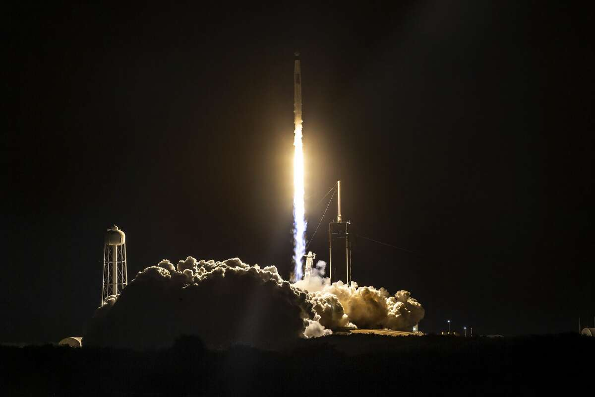 The SpaceX Falcon 9 rocket and Crew Dragon spacecraft launched astronauts with NASA's SpaceX Crew-1 mission on Sunday, Nov. 15, 2020, from NASA's Kennedy Space Center. This photo was shared by SpaceX on Twitter.