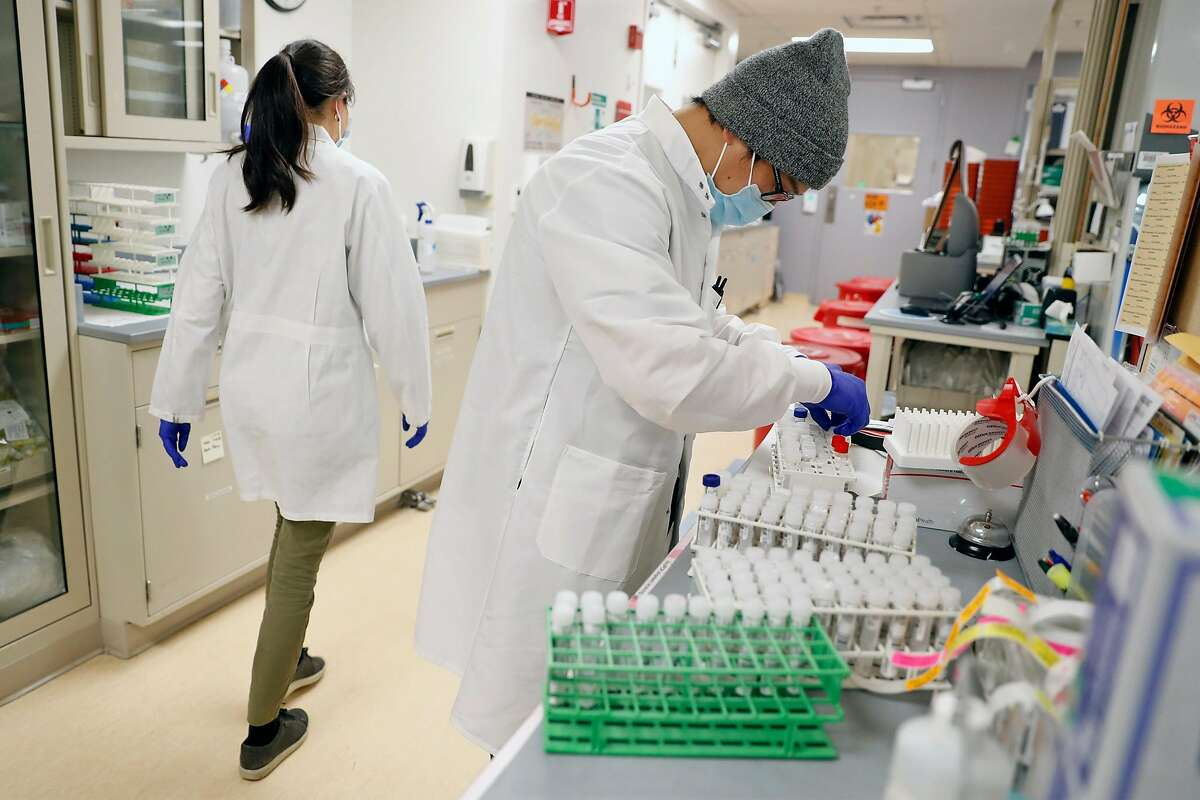 Coronavirus test samples are processed at UCSF Microbiology Laboratory at China Basin in San Francisco.