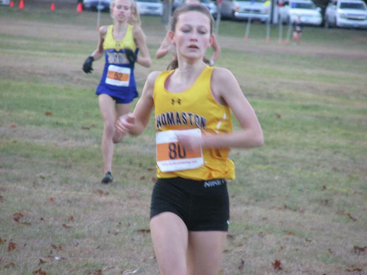 Thomaston senior Maegan Desmarais won Monday's Berkshire League cross country girls race at Black Rock State Park as the only Golden Bear with three straight individual BL cross country championships.