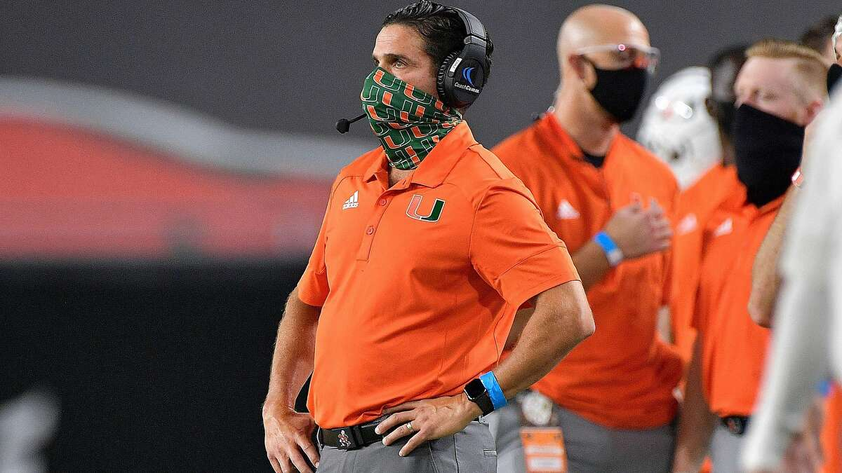 In this file photo, Miami Hurricanes football coach Manny Diaz watches his team battle the UAB Blazers during the first half on Thursday, Sept. 10, 2020. (Michael Laughlin/South Florida Sun-Sentinel/TNS)