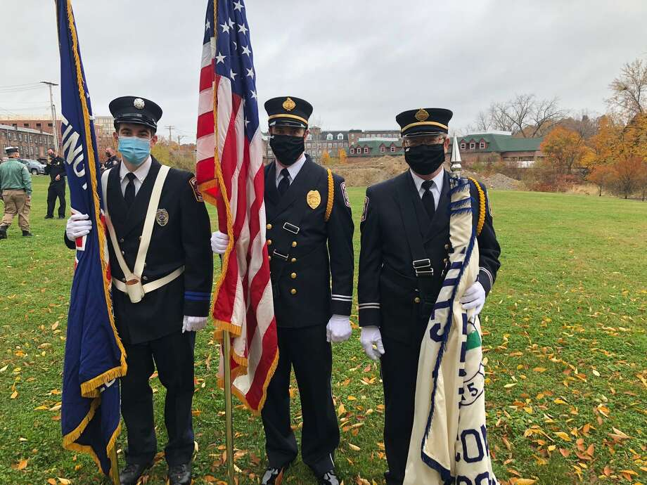 First responders attended the Veterans Day ceremony on Wednesday, Nov. 11, at the River Walk Memorial Park to honor the city's military service veterans. Photo: Sutter-Terlizzi American Legion / Contributed Photo / Connecticut Post