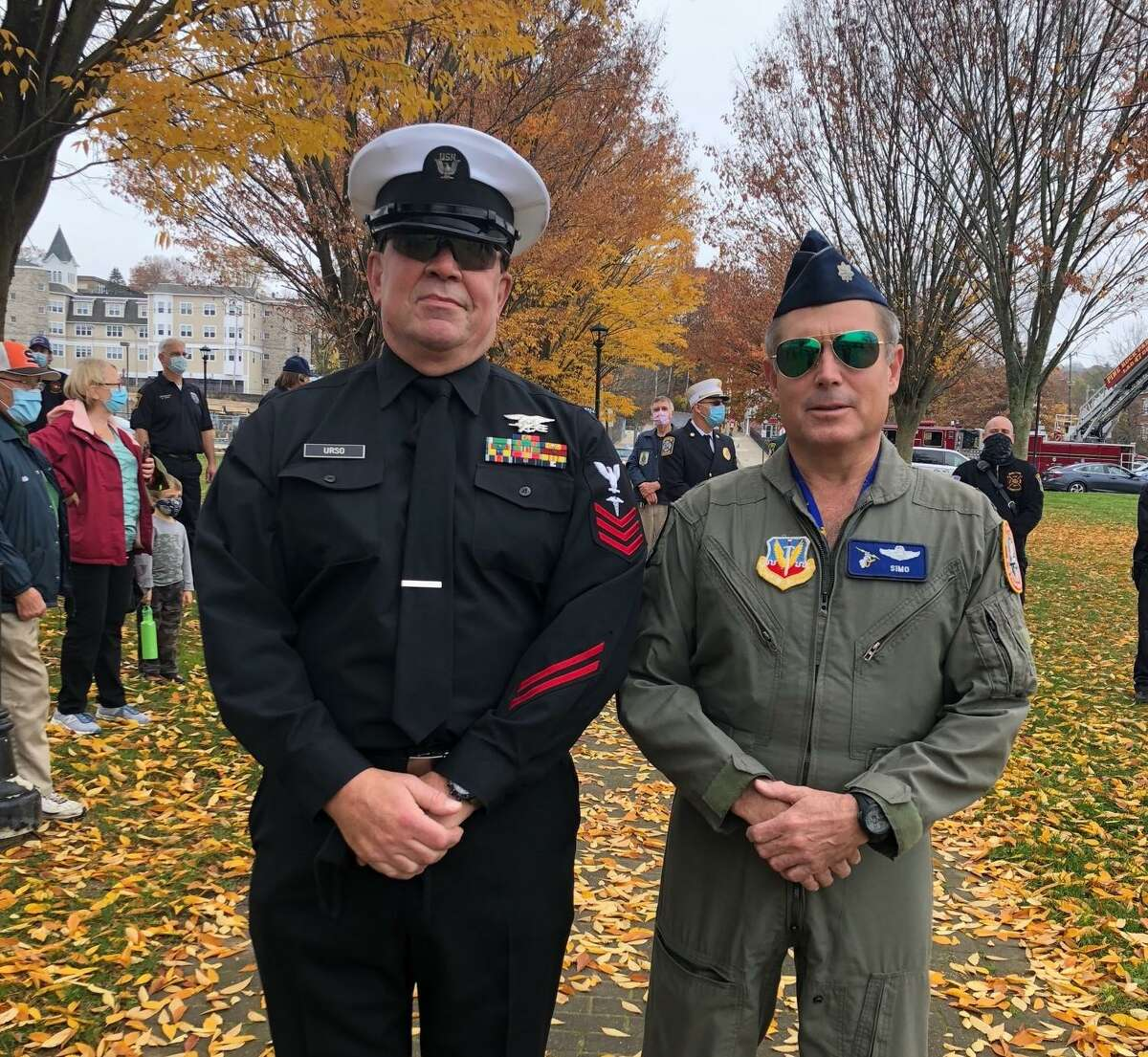 First responders attended the Veterans Day ceremony on Wednesday, Nov. 11, at the River Walk Memorial Park to honor the city's military service veterans.