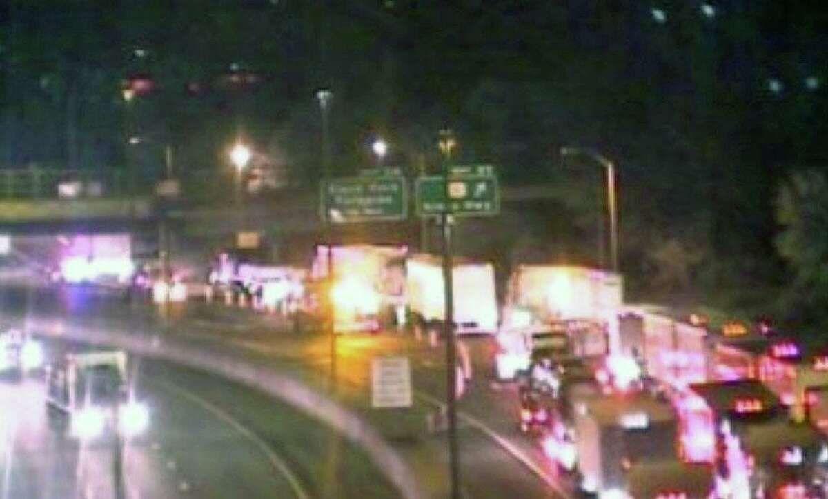 A Connecticut Department of Transportation camera shows traffic is backed up on Interstate 95 north in Fairfield, Conn., on Tuesday, Nov. 17, 2020, after a tractor-trailer overturned.