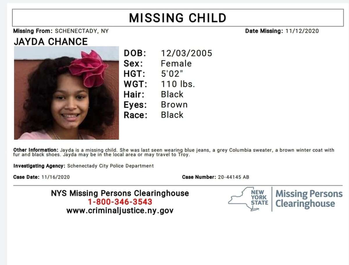 Schenectady police said they need the public's help in the search for JaydaChance, a 14-year-old girl who was last seen on Thursday.