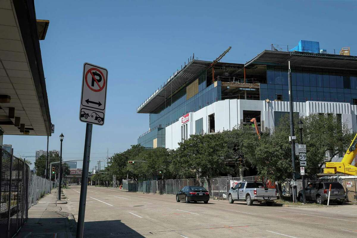 """Construction continues on Ion, the former Midtown Sears store being repurposed as a startup hub, Thursday, Aug. 20, 2020, in Houston. Business and city leaders hope the building will help transform the section of Midtown into an """"Innovation Corridor."""""""