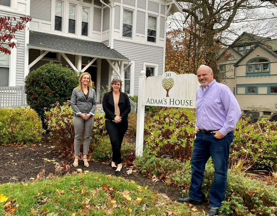 Adam's House's latest fundraiser, Mistletoe and Margaritas, will be virtual. Pictured are Sarah Domena, left, Adam's House community outreach director, Allison Wysota, founder and executive director, and Marc Fontaine, board president. Photo: Adams House / Contributed Photo / Connecticut Post