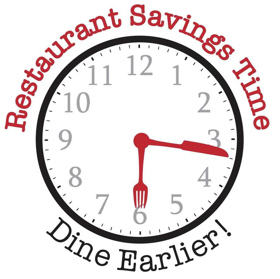 """The Westport Chamber of Commerce announced """"Restaurant Savings Time - Dine Earlier,"""" an initiative to help restaurants respond to Gov. Ned Lamont's executive order for businesses to close at 9:30 p.m. The logo was designed by Miggs Burroughs. Photo: Westport Chamber Of Commerce / Contributed Photo"""