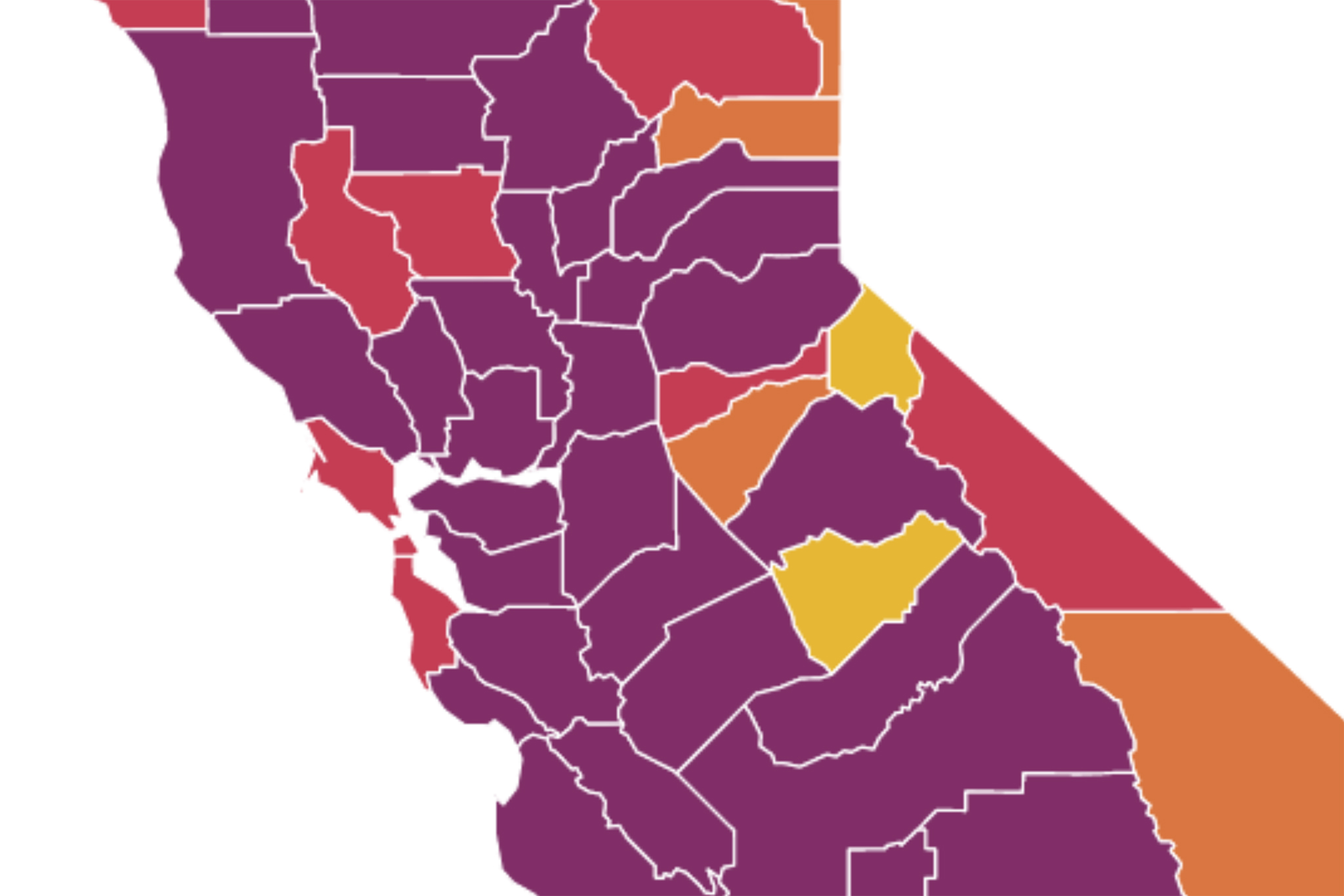 94% of California is in the purple tier: Here's a look at the Bay Area