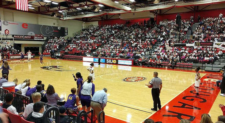 SIUE Athletics has launched Victory SIUE, a program designed to assist Cougar student-athletes and their respective programs navigate through the challenging financial landscape caused by COVID-19. Above, a large crowd watches an SIUE basketball game at the First Community Arena. Photo: Telegraph File Photo