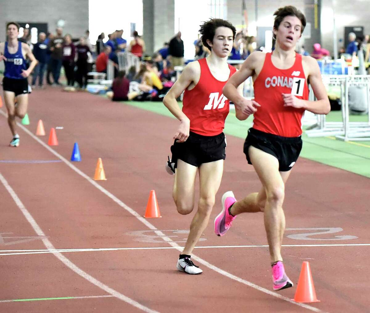 New Haven Connecticut - February 22, 2020: during the CIAC State Open Indoor Track Championship Saturday at the Floyd Little Athletic Center in New Haven.