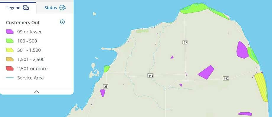 The DTE Energy outage map for Huron County as of 9:34 a.m. Tuesday morning.