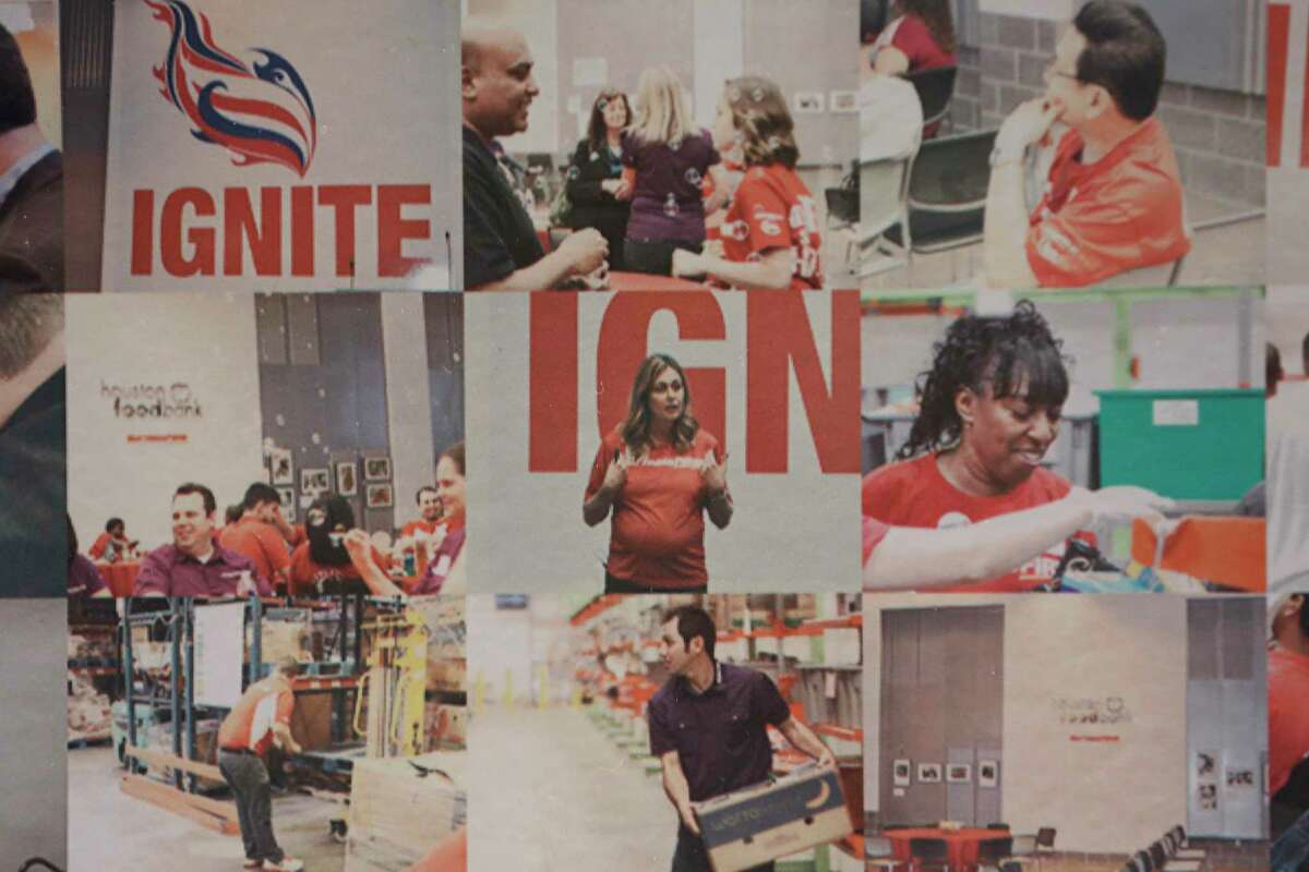 A mural in the Mattress Firm headquarters building,10201 S. Main is make up with hundreds of employee photos Friday, Oct. 16, 2020, in Houston.