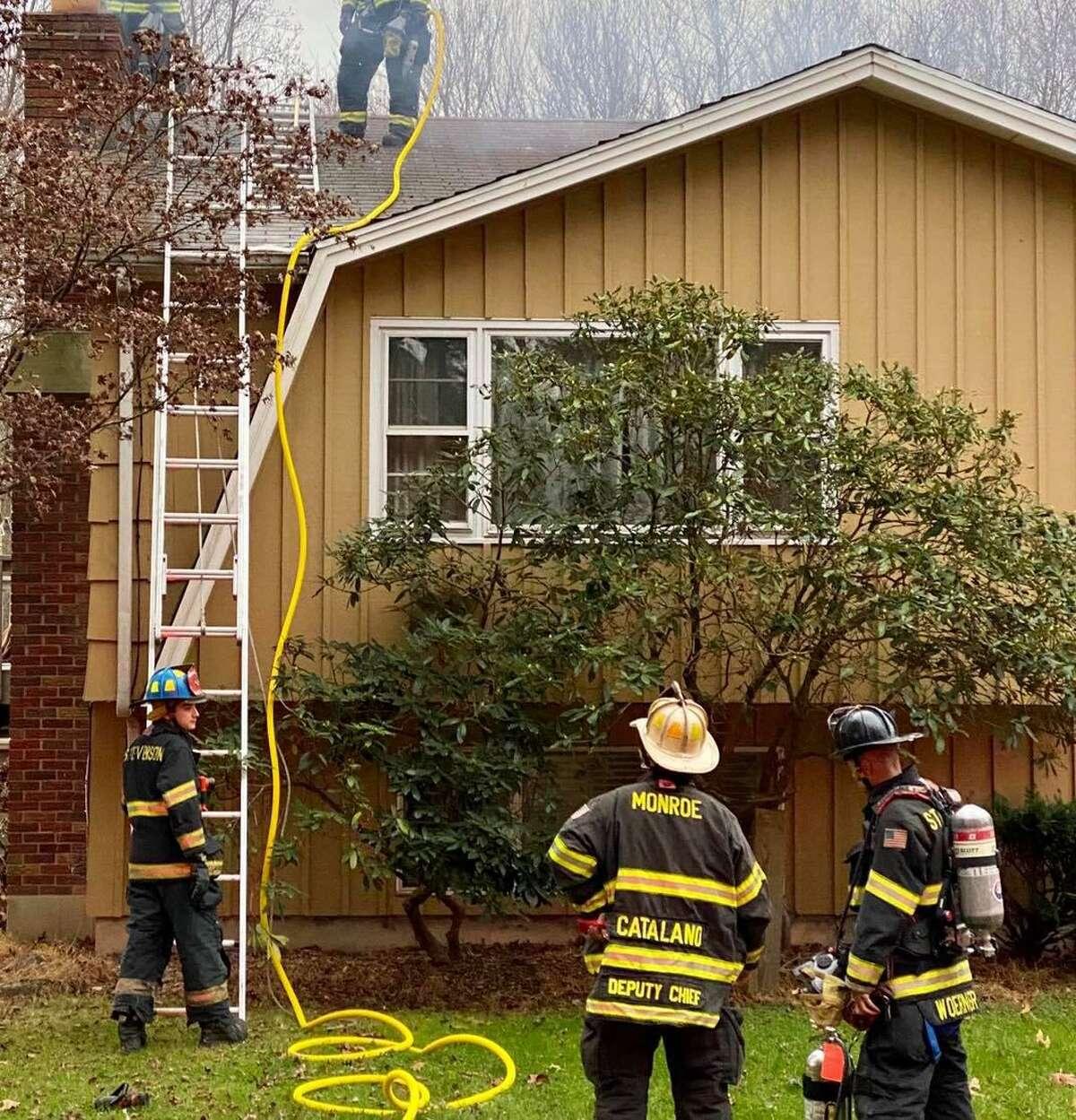Crews on scene for a chimney fire on Shelton Road in Monroe, Conn., on Sunday, Nov. 15, 2020.