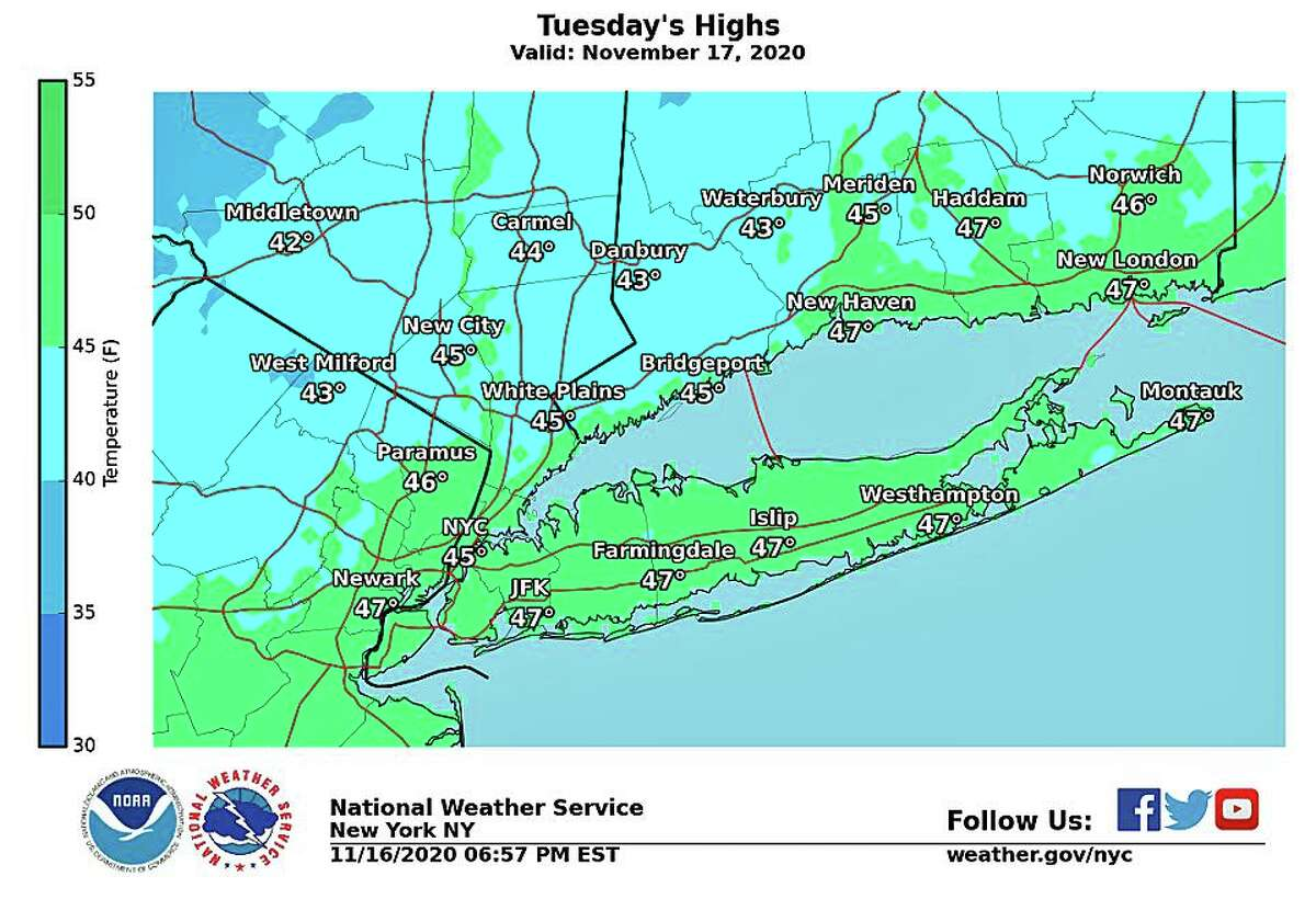 On Wednesday, high temperatures will be between 10 and 15 degrees colder than Tuesday.