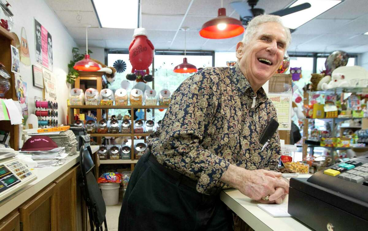 In this 2019 file photograh, Donald Baker, 89, shares a laugh as he reflects on how the candy business has changed after owning The Candy Shop on Glen Loch Drive for more than 20 years, Wednesday, Oct. 30, 2019, in Spring.