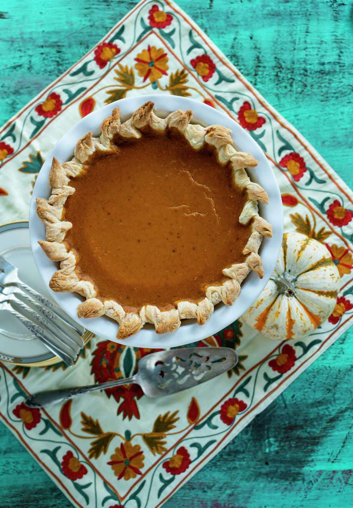 All-Butter Pie Crust and Pumpkin Pie Filling from pastry chef Victoria Dearmond, Underbelly Hospitality.(Styling by Carla Buerkle)