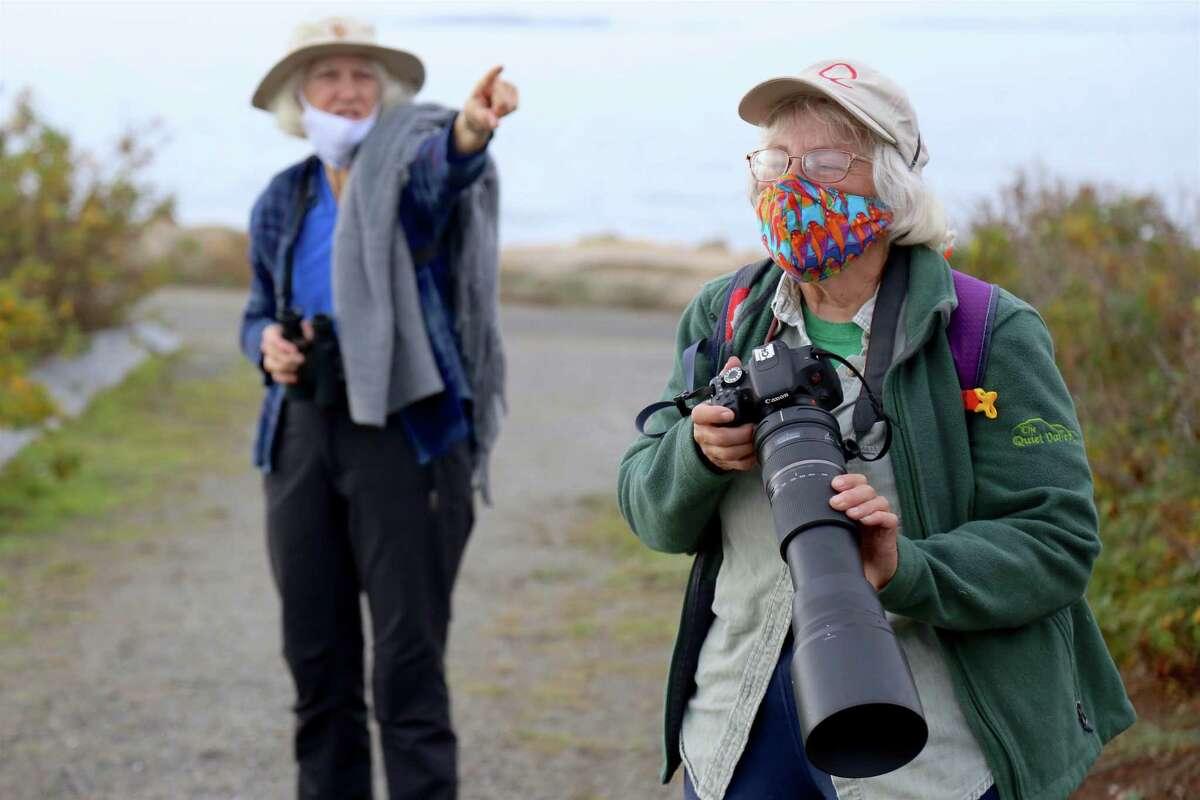 Michele Sorensen, of Norwalk, left, and Sharon Hirsch, of New Haven, keep watchful eyes at Sherwood Island State Park on Wednesday, Nov. 11, 2020, in Westport, Conn.
