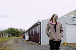 Emma Connor, owner of Topline Sporthorses, outside her barn on Thursday, Nov. 12, 2020, in Sloansville, N.Y. (Paul Buckowski/Times Union)
