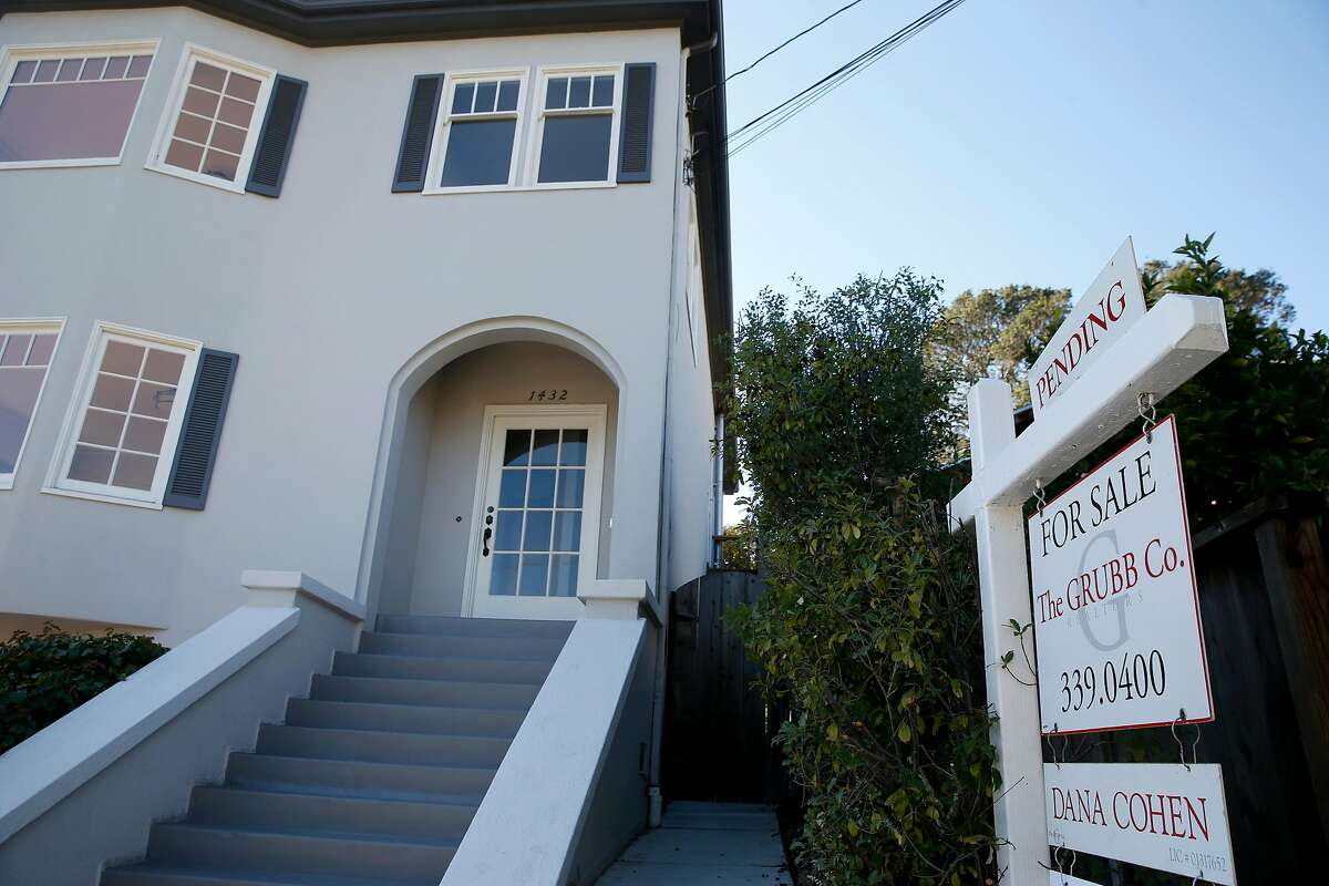 A home with a pending sale on Grant Street in Berkeley Saturday. The East Bay has seen a home-sales surge.