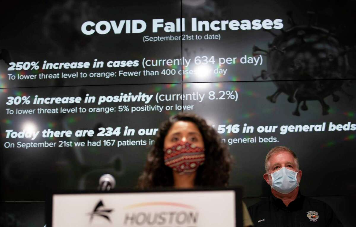 Harris County Judge Lina Hidalgo talks about higher Covid positivity rates in Harris County during a press conference, Tuesday, Nov. 17, 2020, at the TranStar building in Houston.