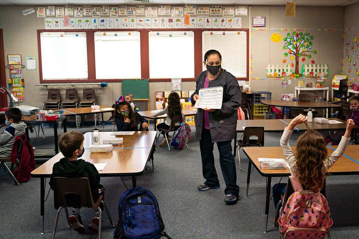 Jennifer Anderson teaches a morning kindergarten class at Brock Elliott Elementary School in Manteca, San Joaquin County.