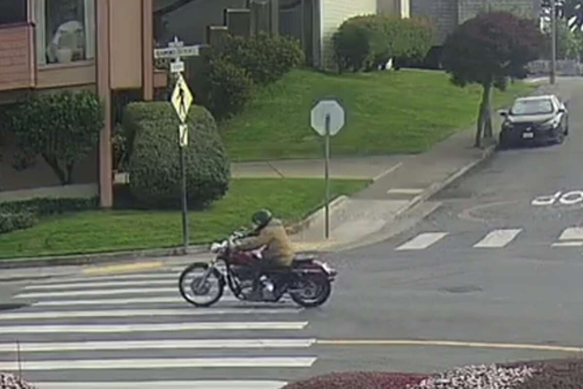 The San Francisco Police Department released an image on Nov. 17, 2020, of a suspected motorcyclist involved in a hit-and-run collision with a 90-year-old woman in Diamond Heights on Nov. 11.