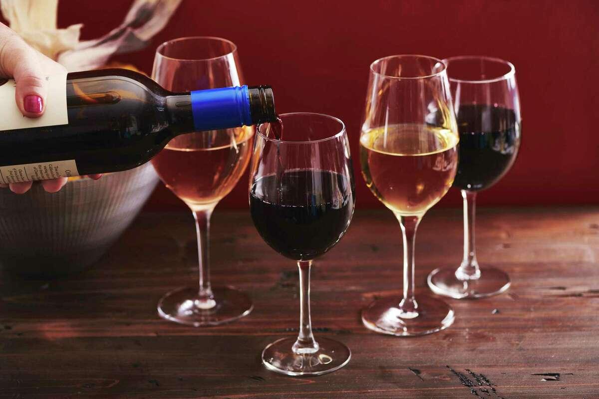 Glasses of wine.