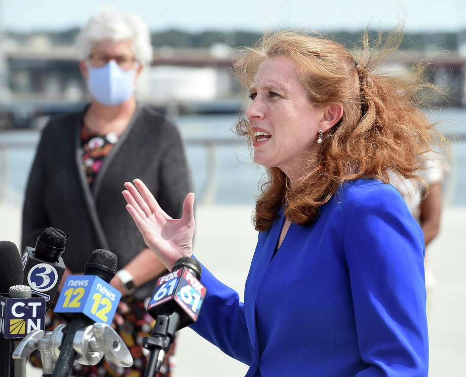 Connecticut Commissioner of the Department of Consumer Protection Michelle Seagull speaks following Connecticut Attorney General William Tong's announcement of a suit against ExxonMobil concerning their alleged deception relating to information about climate change outside of the Canal Dock Boathouse in New Haven on September 14, 2020. Photo: Arnold Gold / Hearst Connecticut Media / New Haven Register