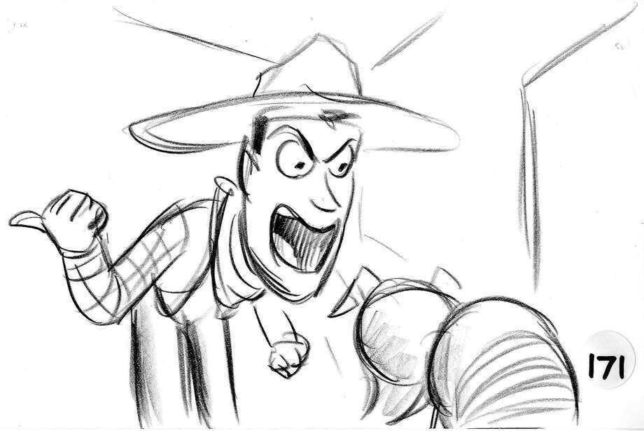 """An ill-fated storyboard reel featuring these images of Woody the cowboy upset Disney executives. That """"Black Friday"""" event sent the """"Toy Story"""" story team back for a crucial rewrite of the character. Photo: Courtesy Pixar Animation Studios /"""