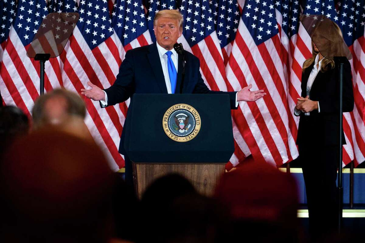 President Donald Trump speaks during an election night event in the East Room of the White House in Washington, early Wednesday morning, Nov. 4, 2020. Denying defeat, claiming fraud and using government machinery to reverse election results are the time-honored tools of dictators. (Doug Mills/The New York Times)