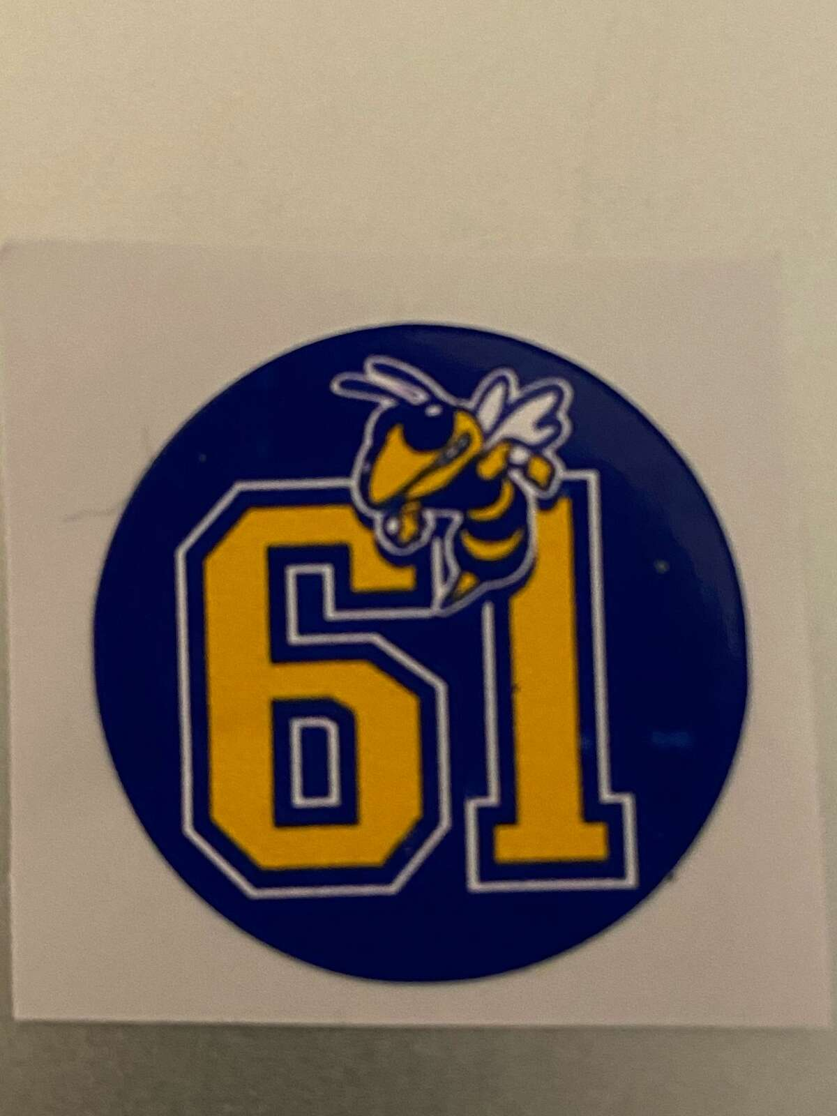 The 1961 Carver Hornets decal being worn on the Lee football helmets this season. The Hornets won the 1961 Prairie View Interscholastic League Class 3A state championship, in the first in Midland history by a high school football team.