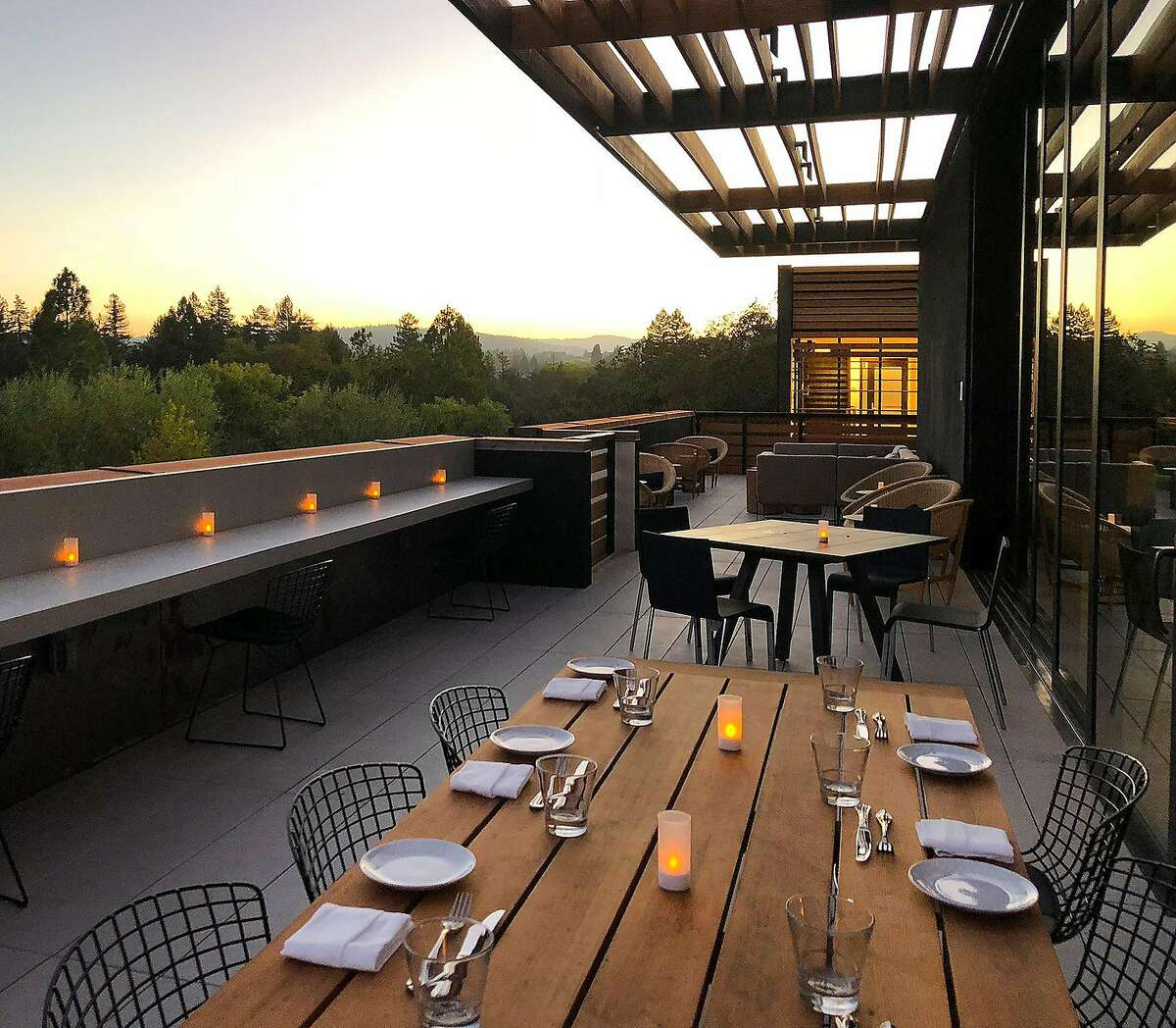 The rooftop terrace at the Harmon Guest House features views of Fitch Mountain, the Sonoma hills and downtown Healdsburg.